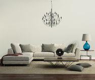 Grey contemporary modern sofa with lamp Royalty Free Stock Images