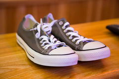 Grey Converse Style Shoes Royalty Free Stock Photos