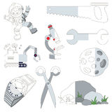 Grey Coor Objects, the big kid game to be colored by example half. Grey Coor Objects, the big collection coloring book to educate preschool kids with easy royalty free illustration