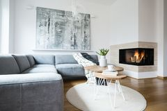 Grey corner settee with blankets standing in white Nordic living room interior with fresh tulips, books and tea cup on hairpin tab. Les, abstract painting and royalty free stock images