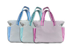 Grey cotton bag Stock Images