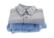 Grey cotton shirt and blue jean Royalty Free Stock Image