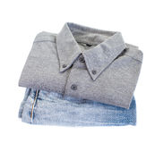 Grey cotton shirt and blue jean Stock Photos