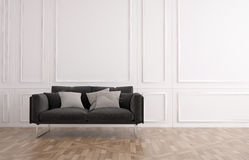 Grey couch in a classic wood panelled room Royalty Free Stock Image