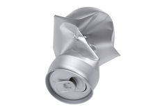 Grey Crumpled beverage can on white macro Stock Image
