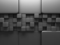 Grey Cube Blocks Wall Background scuro Immagini Stock Libere da Diritti