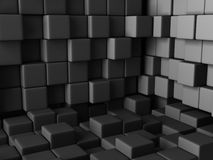 Grey Cube Blocks Wall Background scuro Fotografia Stock Libera da Diritti