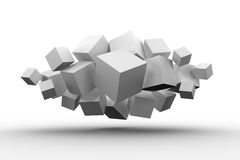 Grey cubes floating in a cluster. On white background royalty free illustration