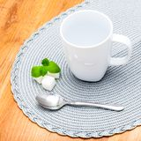 Grey Cup on a napkin Stock Images