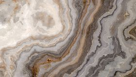 Grey curly marble. Beautiful grey curly marble with golden veins. Abstract texture and background. 2D illustration Stock Photography
