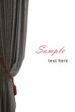 Single grey curtain with red buckle, white background, sample text, like an opera stage Stock Photography