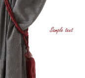 Single grey curtain with red buckle, opened, white background, place for sample text, like an opera stage Stock Image