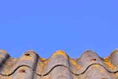 Grey curved shingled rooftop with yellow moss against clear blue sky Stock Image
