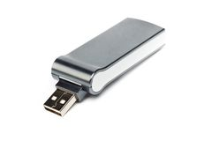 Grey curvy usb flash drive Royalty Free Stock Photography
