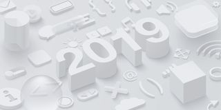 Grey 2019 3d background with web symbols. Grey 2019 updates 3d background with web symbols. Vector illustration Royalty Free Stock Photography