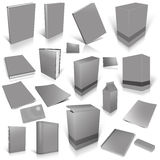 Grey 3d blank cover collection. Isolated on white Royalty Free Stock Image