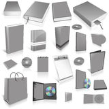 Grey 3d blank cover collection. Isolated on white Stock Photos