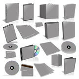 Grey 3d blank cover collection. Isolated on white Royalty Free Stock Images