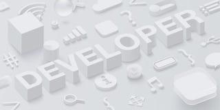 Grey 3d developer background with web symbols. Vector illustration Vector Illustration