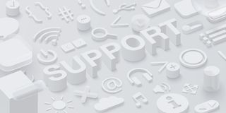 Grey 3d support background with ui symbols. Grey 3d support background with ui web symbols. Vector illustration Stock Photos