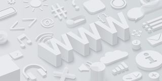 Grey 3d www background with web symbols. Vector illustration Vector Illustration