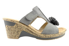 Grey decorated leather lady wedge-heeled sandal Royalty Free Stock Photography