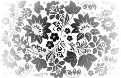 Grey decoration with two large flowers Royalty Free Stock Image