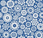 Flowers, background, seamless, gray-blue, vector. Royalty Free Stock Photo