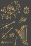 Grey dell'oro di colore di musica Fotografia Stock