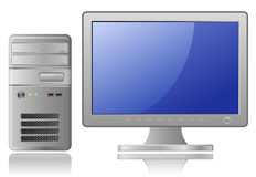 Grey Desktop Computer Stock Photo