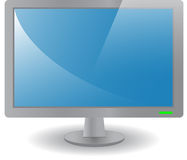 Grey desktop monitor. Front view of a computer monitor with blue screen. Vector illustration vector illustration