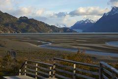 Grey di Lago nel parco nazionale di Torres del Paine, Cile Immagini Stock