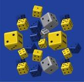 Grey Dice Pattern bleu jaune Images libres de droits