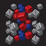 Grey Dice Pattern bleu rouge Illustration de Vecteur
