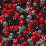 Grey Dice Seamless Pattern noir rouge Image stock