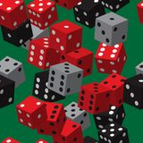 Grey Dice Seamless Pattern noir rouge Photographie stock