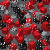Grey Dice Seamless Pattern noir rouge Images stock