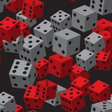 Grey Dice Seamless Pattern rouge Photographie stock