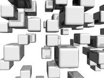 Grey dimensional cubes Stock Photos
