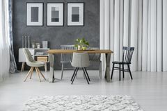 Grey dining room stock photography