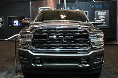 Dodge ram being displayed at a auto show stock images