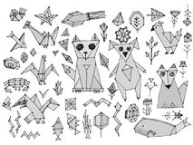 Free Grey Dog Cat Fox Fish Birds Sea Animals And Plants, Black Outline Isolated On White Background, Doodle Decorative Contemporary Ele Stock Images - 109009494