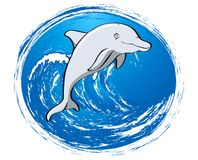 Grey dolphin friend. Dolphin character jumping out the brave ocean Royalty Free Illustration