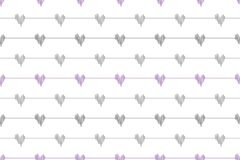 Grey doodle line hearts wave deflection seamless pattern on white background vector illustration