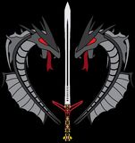 Grey dragons and sword Royalty Free Stock Images