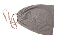 Grey drawstring pouch with brown ribbon Stock Photo