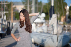 Grey dress Royalty Free Stock Image