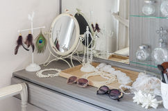 Grey dressing table with accessories Stock Photos