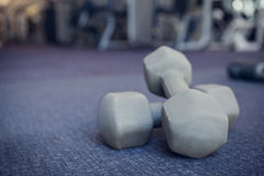 Grey dumbbells on the weights room floor Stock Photos