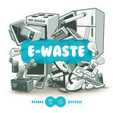 Grey E-waste With Blue Sign Board Royalty Free Stock Images